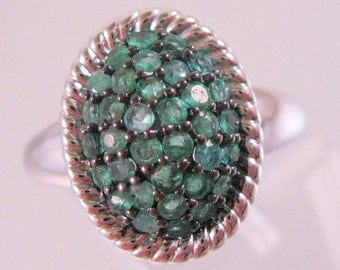 Green Quartz Pave Set Sterling Silver Ring Signed JS Size 7.5 Vintage Jewelry Jewellery