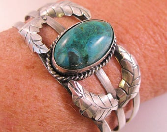 Vintage Guad Mexico Turquoise Cuff Sterling Silver Bracelet Mexican