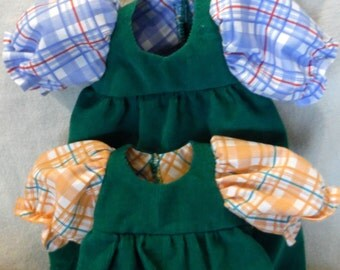 GREEN CORDUROY ROMPERS, 12 - 18 inch doll, Baby Doll Clothes, Size medium doll, Orange Plaid Sleeves, Doll Clothes, Hand Crafted, Children,