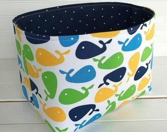 Organizer Basket, Fabric Bin, Nautical Nursery Decor, Storage Bin, Whales, Fabric Basket Bin, Home Decor, Navy Blue, Lime Green, Yellow