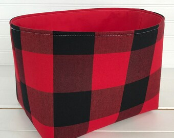 Nursery Decor,Storage Bin,Organizer Basket,Bin,Woodland Fabric Basket Bin,Red, Black, Buffalo Plaid, Lumberjack Nursery, Woodland Decor