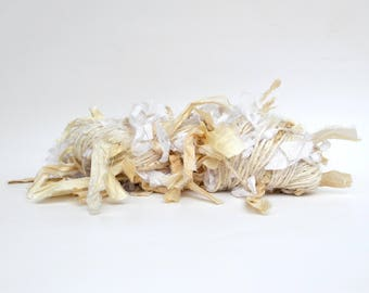 Banana Fiber Fringe Yarn White, Handspun Yarn with Recycled Silk Fringe