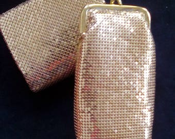 Gold Mesh Cigarette Glasses Holder