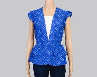 Vintage 80s Cobalt Blue Blouse | Ruffle Peplum Waist Top | Retro Cap Sleeve White Polka Dot Shirt | Medium Large M L