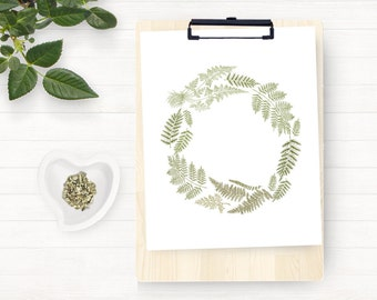 Instant Download Printable Art, Clipart, Vintage Fern Wreath, Green Fern Wreath, DIY