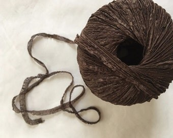 "Lang Passione Crepe Ribbon Yarn #68 Brown Crinkly Springy 1/4"" x 131 yds 50 Gram"