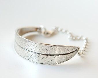 Sterling silver bracelet, silver leaf bracelet, willow leaf bracelet, silver link bracelet, silver chain bracelet