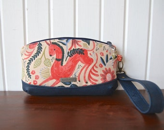 Clematis Wristlet in Les Fleurs Canvas with navy cork