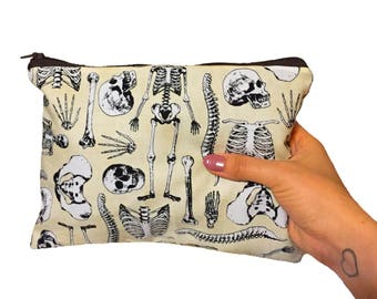 Anatomical Skeleton Zipper Pouch - Cosmetic Purse - Makeup Bag - Fully Lined zipper Pouch -Bag - Purse