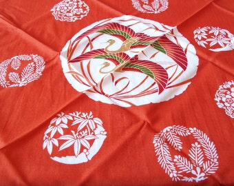 Furoshiki Orange With Ornamental Cranes Design Wrapping Cloth From Japan