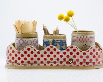 utensil organizer - desk organizer set - utensil caddy - desktop organizer - makeup organizer - housewarming gift -  gold accent