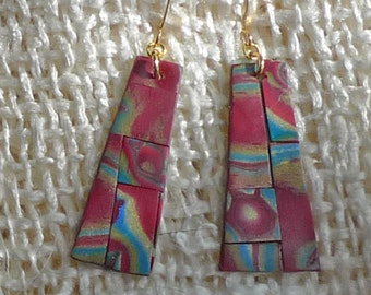 Southwest Inspired Mosaic Polymer Clay Mosaic Earrings.  Ultra Light. Red Rock and Turquoise.  Worldwide Shipping