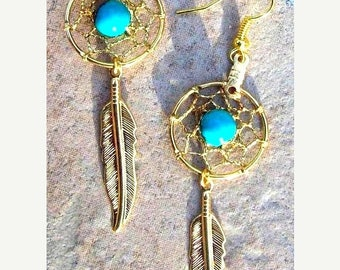"""ON SALE DREAM Catcher Earrings in gold with turquoise, 3"""" long, long dreamcatcher earrings, turquoise gold earrings, silver turquoise earrin"""