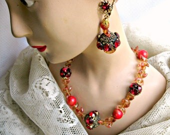 Rhinestone Necklace Earrings Set Vintage Haute Couture Jewelry