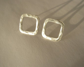 Square Sterling Silver Hammered stud Earrings - Ready to Ship