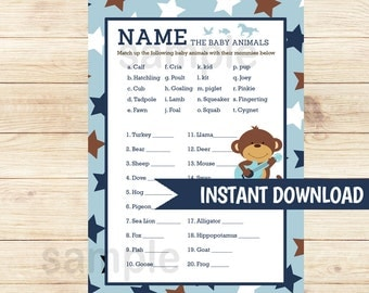 Rock Star Monkey Name the Baby Animals Matching Baby Shower Game | Boy Baby Shower Game Printable PDF INSTANT DOWNLOAD bs-131