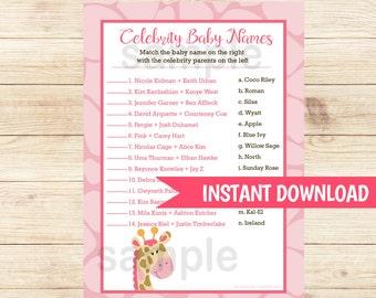 Pink Giraffe Girl Baby Shower Celebrity Baby Names | Celebrity Matching Game Girl Baby Shower Printable PDF INSTANT DOWNLOAD bs-024