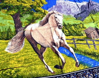 Vintage 1970s 70s Horse Tapestry Wall Hanging Rug