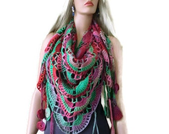 Greenpeace-Bohemian crochet scarf/shawl- Greenpeace Greens, reds and soft pinks , Crochet lace scarf with fringes