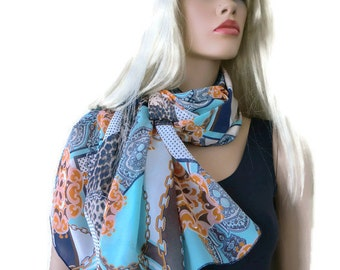 Blue brown geometric patches extra  Long chiffon scarf-summer scarves