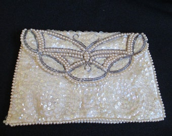 Vintage Beaded Clutch, Butterfly Clutch, Ladies Evening Bag, Sequins and Pearls