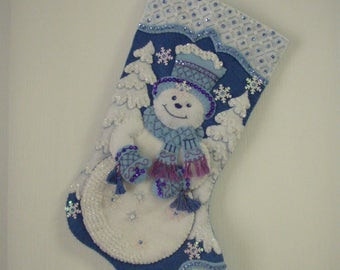 "Bucilla Completed Felt  18"" SNOWFLAKE SNOWMAN  Christmas Stocking"