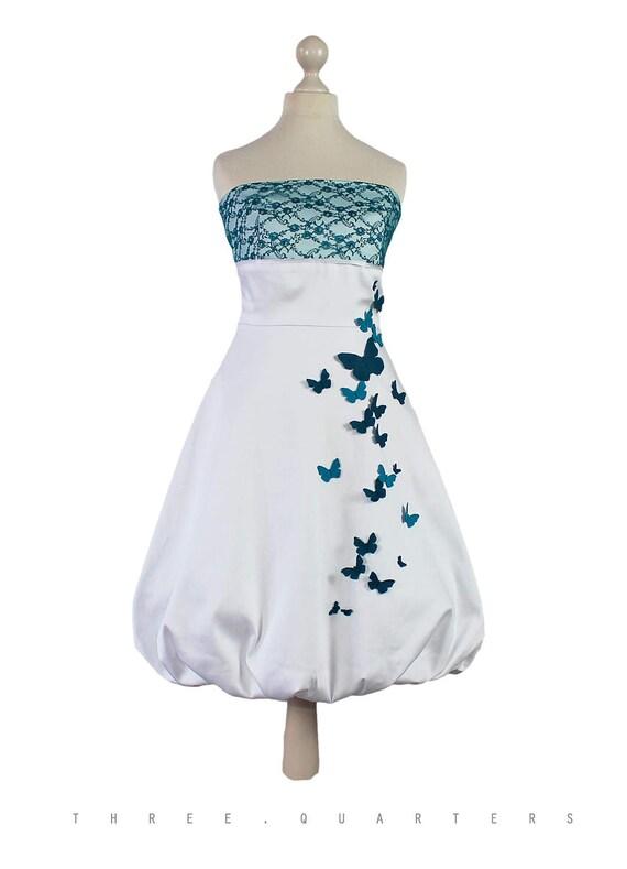 Vestido de novia blanco mariposas verde azulado azul el