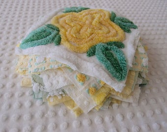 "Vintage Chenille Fabric Quilt Squares - 20 - 8"" squares yellow & green - 500-113"