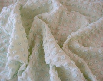 "Vintage Chenille bedspread fabric piece - Morgan Jones mint green popcorn - 24"" x 24"" - 400-149"