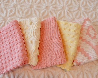 "Vintage Chenille Fabric Mini Sets - Pink & Yellow - Five 12"" x 18"" pieces - 100-406"