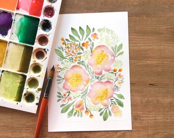 Watercolor flower floral art print, 8x10 inches, Giclee Art Print, wall art, modern watercolor floral