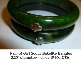 """Bakelite Bangles. Pair of Vintage Green Bakelite Bracelets with Girl Scout Trefoil Logo. Circa 1940s. Small Size 2.25"""" diameter."""