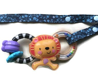 Toy Leash, Sippy Cup Strap, Pacifier Saver -- Blue with Blue Flowers