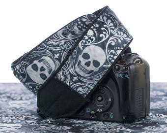 Damask Skull Camera Strap, dSLR, Camera Neck Strap, Canon camera strap, Nikon camera strap, Men's Women's,  266