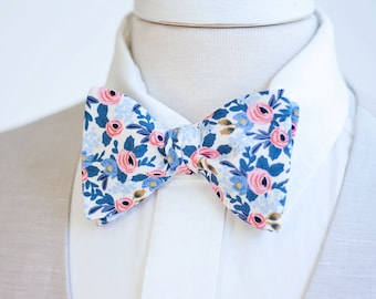 Bow Ties, Bow Tie, Bowties, Mens Bow Ties, Freestyle Bow Ties, Self-Tie Bow Ties, Groomsmen, Rifle Paper Co - PRE-ORDER Rosa In Periwinkle