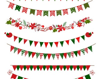 ON SALE Bunting Digital Clip Art ,Banner Flag Clip art, Christmas Clip Art, card making, scrapbooking ,red green, Instant Download