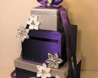 Wedding Card Box Purple and Silver Gift Card Box Money Box  Holder--Purple and Silver or Customize your color
