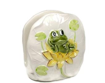 Neil the Frog Napkin Holder Vintage Ceramic Napkin Holder