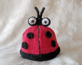 Baby Hats Knitting Knit Baby Beanie Knitted Baby Hats Knitted Baby Beanie  Hand Knit Baby Hat Lady Bug Halloween