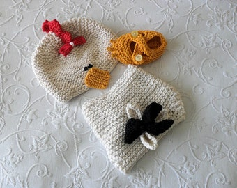 Hand Knitted Baby HAT and  DIAPER COVER Easter Baby Hat and Diaper Cover Hen knitted baby hat Baby Chick Hat Knitted Baby Beanie