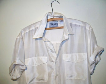 vintage ivory silk short sleeved shirt