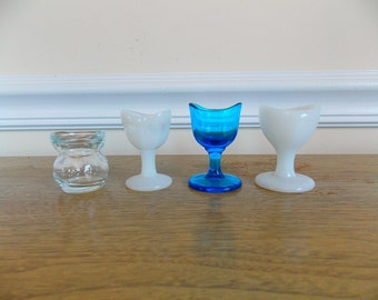 Eye Wash Cup, Glass Eye Wash Cup, Glasco, Milk Glass, Blue Glass, Eye Wash Cup Set, Medical,Vintage, Optical, Collectible, Antique