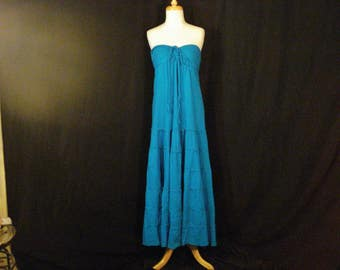 Long Teal Boho Hippie Vintage Dress Strapless/ Halter Beach Chic Cotton Gauze M
