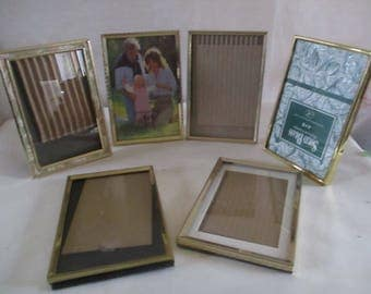 Picture Frames Gold Tone 4 x 6 , glass group of 6