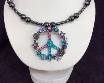Hand Beaded Multi Colored Rhinestone Peace Sign Magnetic Hematite Memory Wire Necklace