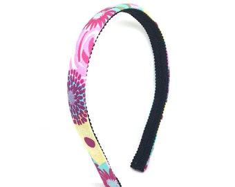 Half Inch Headband for Spring & Summer in Shabby Chic Colorful Print  - Turquoise, Pink, Yellow - Easter Headband for Girls or Adults