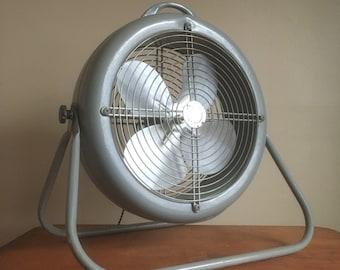 Industrial Chic.  Pale Grey Vintage Metal Fan.