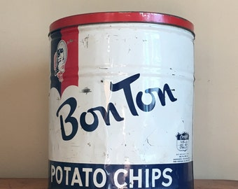 Large Vintage Bon Ton Potato Chips Can. York, PA