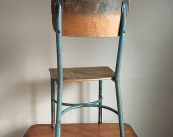 Industrial Chic.  Metal and Wood School Chair.