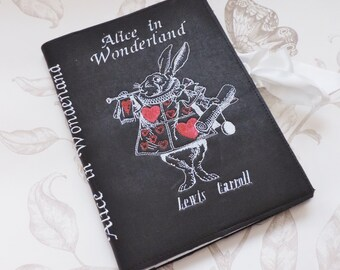 Alice in wonderland journal- black faux leather journal- book- journal notebook- diary- travel book- white rabbit